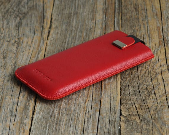 BlackBerry KEYone DTEK50 Leap Cover. MONOGRAMMED Red Leather Case Sleeve with Magnetic Flap.