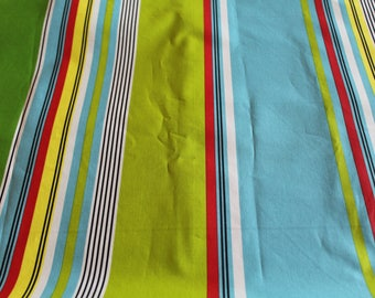 Laminated cotton fabric 50 x 70 cm striped turquoise and lime