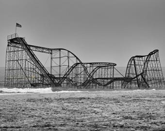 Jet Star Rollercoaster, Seaside Rollercoaster, Ocean Rollercoaster, Hurricane Sandy, Jersey Shore Photography, Black and White Photography