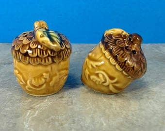 Vintage Acorn Ceramic Salt and Pepper Shakers - Fall Table Decor - Autumn Salt and Pepper - Kitsch Table
