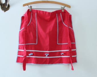 Vintage Apron, Red Apron, Red & Blue Apron, Red Half Apron, Half Apron, Blue Apron, Blue Half Apron, Apron with Pockets, Vintage Red Apron