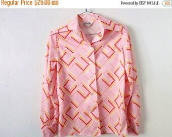 ON SALE Women's MEDIUM Vintage Pink Polyester Button Long Sleeve Shirt
