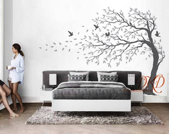 Tree wall Decal Wall Sticker Baby Nursery Decals-Cherry Blossoms Tree Decal wih Hummingbird-DK193