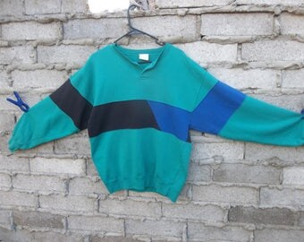 Vintage Sweatshirt Patchwork Abstract 1980s 90s Fresh Prince Cosby Color Block Medium Oversized Hip Hop Skater Surfer Dope
