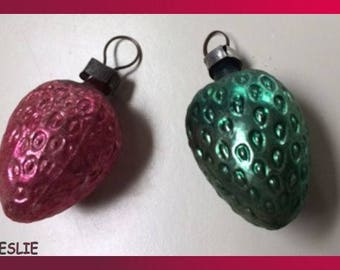 Antique Strawberry Glass Tree Ornaments 1940's
