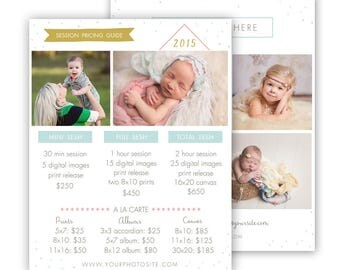 Photography Pricing Template, price guide template, sell sheet, photography pricing template, photography marketing template
