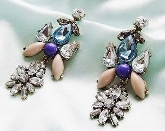Statement earrings blue nude earrings rhinestone opulent