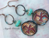 Free Bird Artisan Ceramic and Copper Rustic Casual Earrings designed by Angela Gruenke of Contents Jewelry