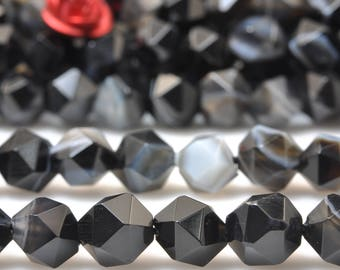 68 Pcs of Natural Black Banded Agate Faceted nugget beads in 6mm (06484#)