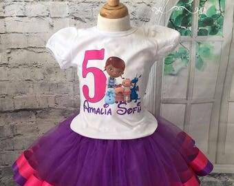 Doc Mcstuffins birthday tutu, doc mcstuffins tutu otufit, doc mcstuffins birthday, doc mcstuffins birthday outfit, blue and purple tutu.