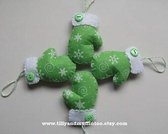 Handmade Green Felt Mitten Christmas Ornament/Decoration/Bauble.felt Mitten. Mitten Ornament.Mitten Decoration. Snowflake Mitten