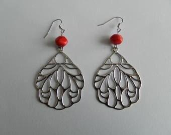 Red Lampwork bead and silver leaf earrings