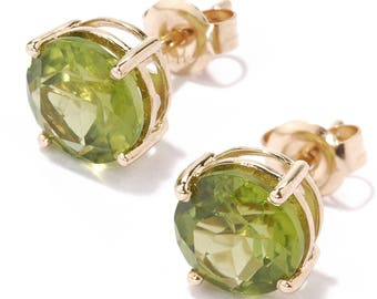 "14KT Yellow Gold 4.1ctw Peridot Stud Earrings 0.6""L"