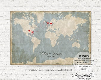 Wedding Map Guest Book Wedding Guest Book Alternative Destination Wedding Gift Bride Gift Vintage World Map Love Map Wedding Keepsake POSTER