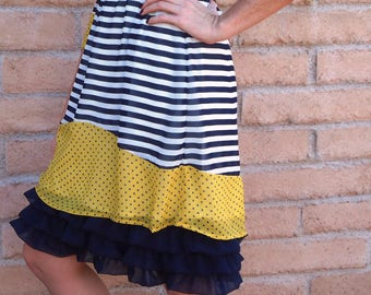 Slip extender - Navy with three tiered layered chiffon.  Available in other colors. Just ask.