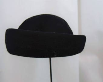 Vintage 1980s Henry Pollack Glenover 100% wool black rolled brim hat with knit band