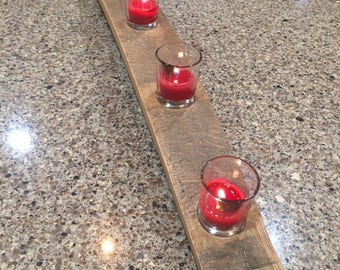 Votive glass candle holder on a repurposed, reclaimed, upcycled wine barrel stave-ready to ship