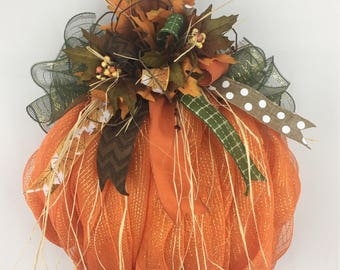 Pumpkin Wreath, Fall Wreath for Front Door, Autumn Wreath, Halloween Wreath