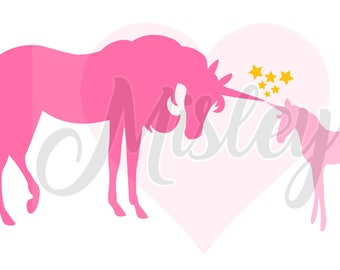 Unicorn Mother and Baby SVG, PNG, and STUDIO3 Cut Files for Silhouette Cameo/Portrait and Cricut Explore DIY Craft Cutters