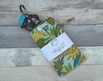 Umbrella, brolly bag, wet, waterproof bag, leaves, nature, green botanicals, baby accessories, nappy bag