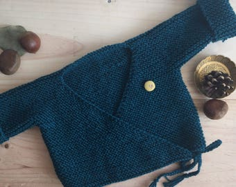 Hand knitted wrap-over Cardigan