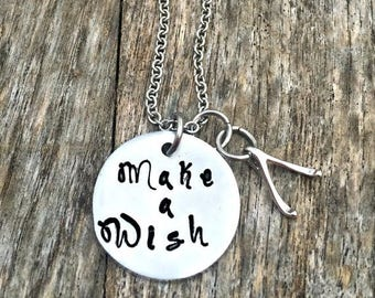 Make a Wish, Wishbone Necklace, Good Luck Jewelry, Motivational, Hand Stamped Gifts, Inspirational Quotes, Graduations, Wedding Presents