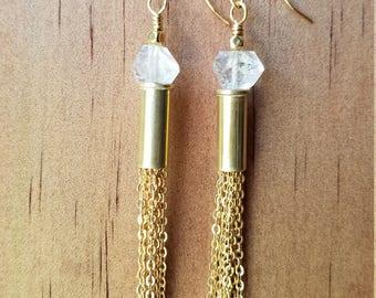 Herkimer diamond bullet earrings with brass chain fringe