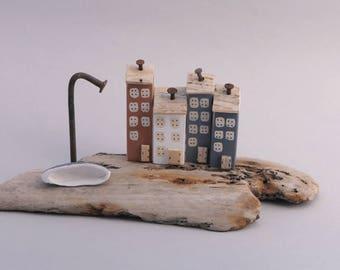 Handmade Coastal Scene  Driftwood Gift/ Ornament with a Clay Boat #730