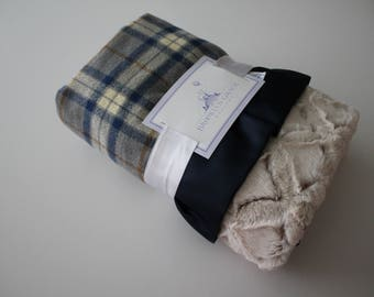 Navy Blue, Gray, Rust and White Plaid Flannel with Solid Embossed Gray Lattice or Camel Beige Frosted Gem Minky Back and Satin Trim Blanket