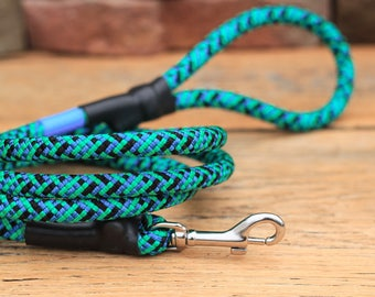Climbing Rope Dog Leash // Turquoise Blue Green Dog Leash // Upcycled Dog Leash // 6' Leash