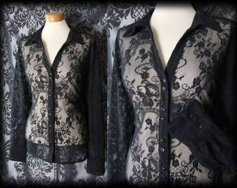 Gothic Black Sheer Delicate Lace BROKEN DREAM Blouse 16 18 Victorian Vintage