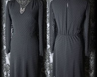 Gothic Black Lace Bib NIGHTFALL High Neck Tea Dress 10 12 Victorian Governess