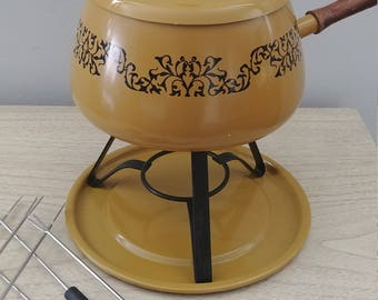 Harvest Gold Fondue Set
