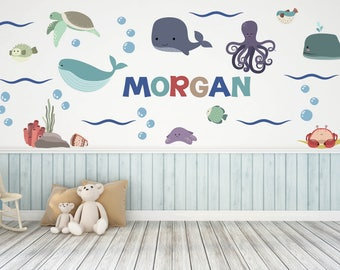 Nursery Wall Decals, Ocean Wall Decals, Name Wall Decals, Ocean Theme  Nursery Decor Part 84