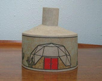 Ceramic Sculpture Vase with Geodesic Dome Houses