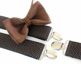 Suspender with bow tie, black-brown
