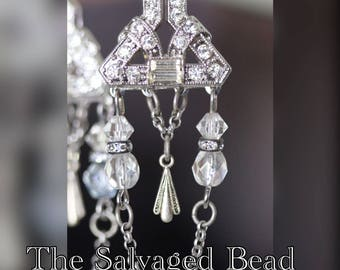 Antique Art Deco Gatsby White Rhinestone Glass Earrings, circa 1920's by The Salvaged Bead