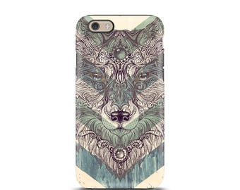 iPhone 7 case tough, iPhone 6s case tough, iPhone 5s case tough, iPhone 5 case tough, personalized iPhone, iphone 7 cover - Tribal Wolf