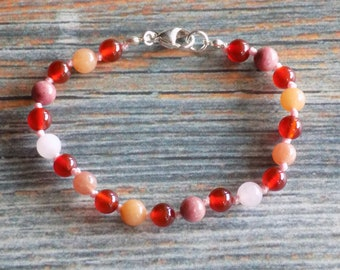 """7.5"""" Women's Sexual & Reproductive System Health Support Gemstone Bracelet Knotted on Nylon with Sterling Silver Findings Healing Crystals"""