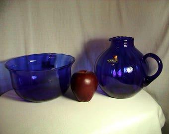 West German Handmade Regenhutte Cobalt Blue Glass Pitcher and Bowl, Free Shipping (253)