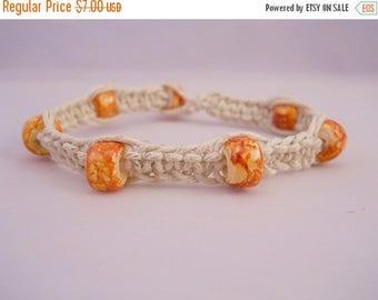CLOSING SALE Natural Hemp Bracelet w/ Orange Glass Beads