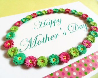 Mother's day Card, quilled card, handmade card, greeting card, Mother's day, card for Mum, Happy Mothers day, floral card, mother card