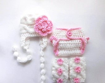 SALE 15% DISCOUNT Newborn Baby Girl Outfit  , Hat , Diaper Cover and Leg Warmers - SET - Newborn Baby Girl Outfit