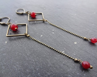 Brass red stones earrings