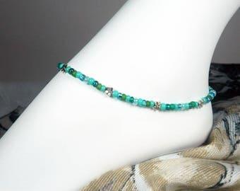 "Turquoise Aqua Anklet - Seed Bead Anklet - Bead Ankle Bracelet - Sea Turtle - Fish - Flower - Girls - Plus - 7"", 8"", 9"", 10"", 11"", 12"", 13"""