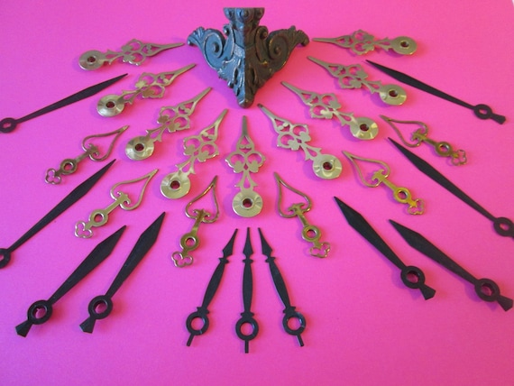26 Vintage Mixed Metals Clock Hands and 1 Small Fancy Antique Copper and  Cast Iron Clock/Furniture Foot