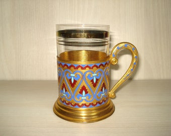 Vintage Old Russian Soviet USSR Enamel Gold Plated Tea Glass Holder, Podstakannik  with Glass, Hot Enamel tea holder