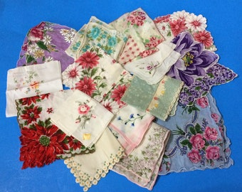 15 Floral Vintage Womens Handkerchiefs Embroidered Scalloped Hankies