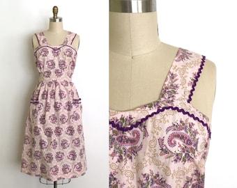 vintage 1940s dress | 40s sweetheart cotton sun dress