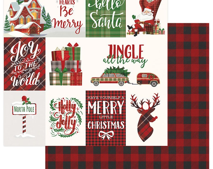 2 Sheets of Photo Play MAD 4 PLAID CHRISTMAS 12x12 Scrapbook Cardstock Paper - Jingle